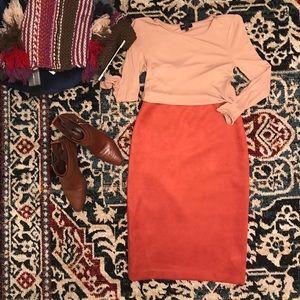 BCBG faux suede skirt